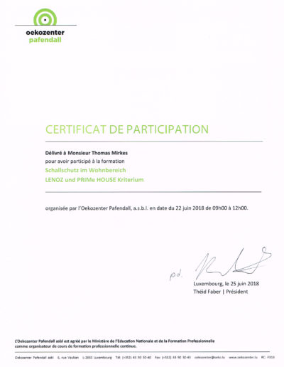 Zertifikat Schallschutz im Wohnbereich