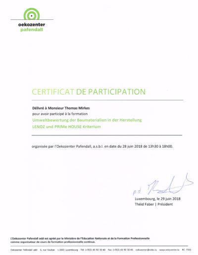 Zertifikat Umweltbewertung von Baumaterialien