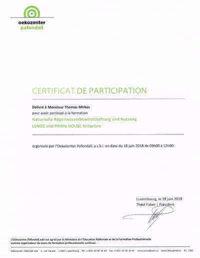 Zertifikat naturnahe Regenwasserbewirtschaftung und Nutzung