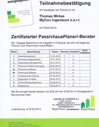 Zertifikat PassivhausPlaner/-Berater