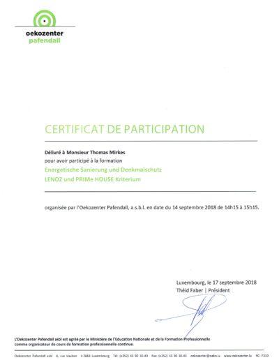 Zertifikat Sanierung und Denkmalschutz