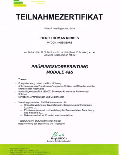 Zertifikat Teilnahme Prüfungsvorbereitung Module 4&5