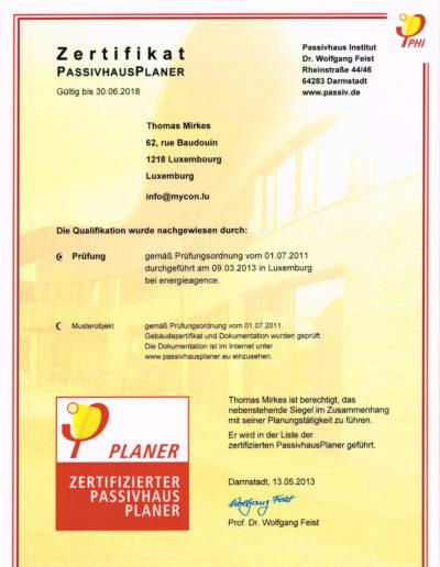 Zertifikat PassivhausPlaner