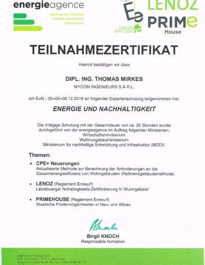 Zertifikat Energie und Nachhaltigkeit 2016 LENOZ